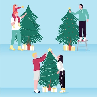 Illustration of people decorating christmas tree