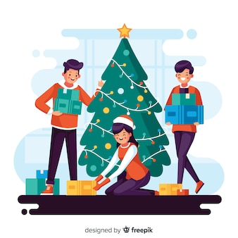 Illustration of people decorating a christmas tree