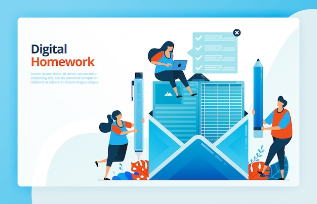 Illustration of people do digital homework via email, future of distance learning, internet courses.