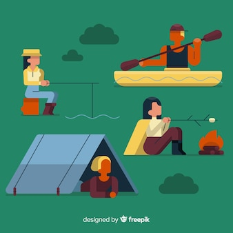 Illustration of people doing camping
