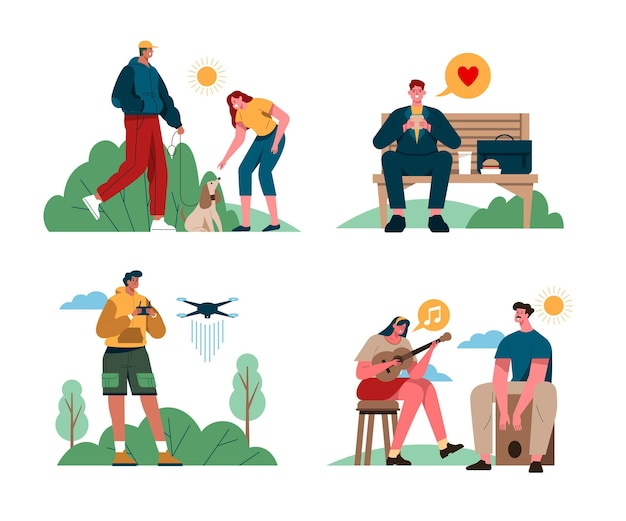 Illustrazione di persone che svolgono attività all'aperto