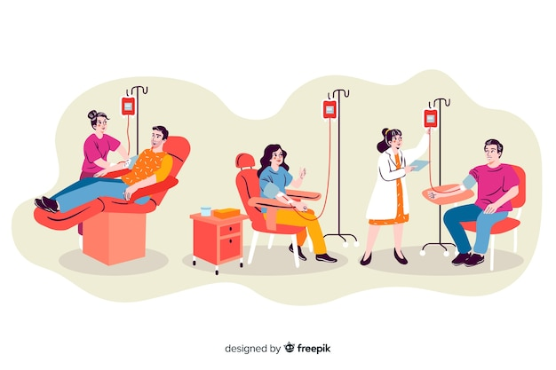 Illustration of people donating blood