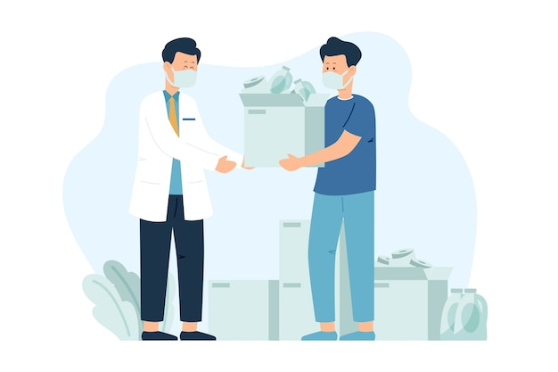 Illustration of people donating sanitary material in quarantine time