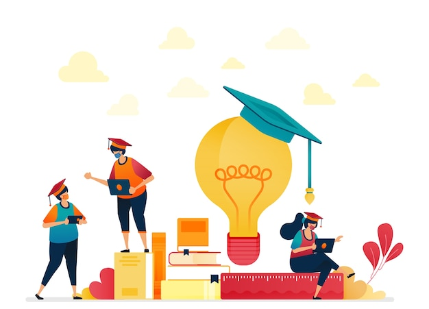 Illustration of people in graduation, stacks of books, light bulb ideas, learning students