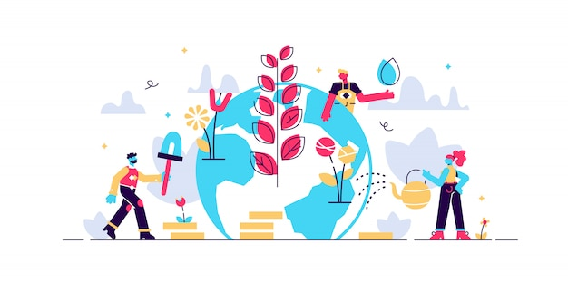 Illustration. people grow plants, doing farming job - watering, gathering, planting, world environment day, bio technology, green planet, globe with trees growing on it, ecology, co system.