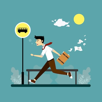 Illustration of people in a hurry