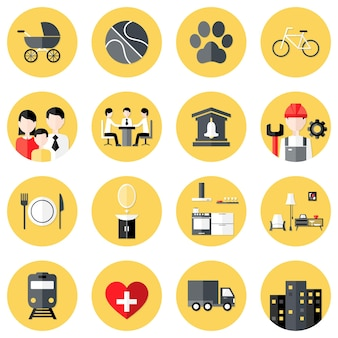 Illustration of people interests flat circle icons set over yellow