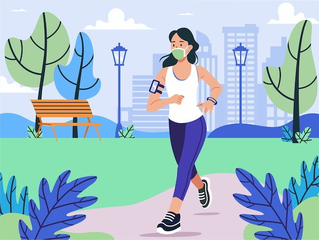 Illustration people jogging wearing a face mask in new normal
