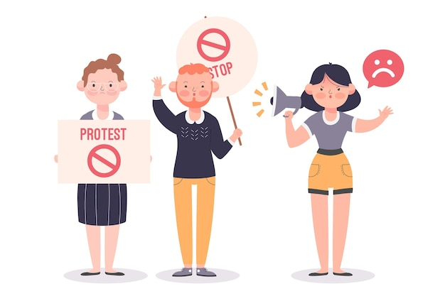 Illustration of people protesting peacefully