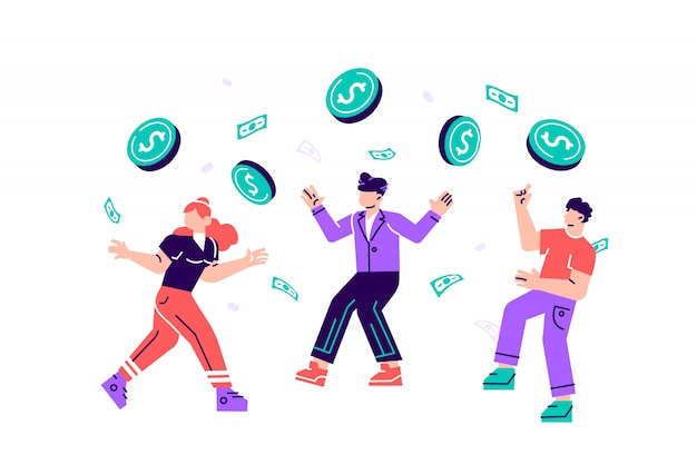 イラスト、人々はコインの雨の中で喜んで、価格は大きなオファーを下落しています。宝くじに当たる。成功したビジネス移転。 webページ、カードのフラットスタイルのモダンなデザインイラスト
