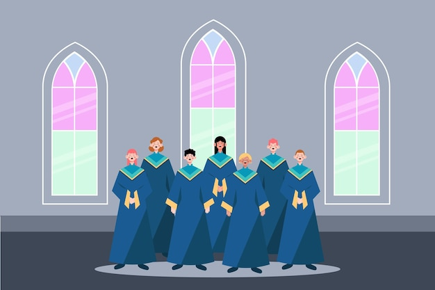 Illustration of people singing in a gospel choir