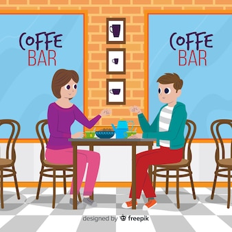 Illustration of people sitting in a cafe