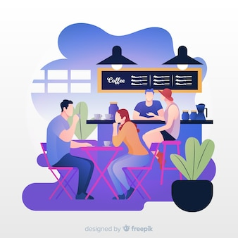 Illustration of people sitting in cafe