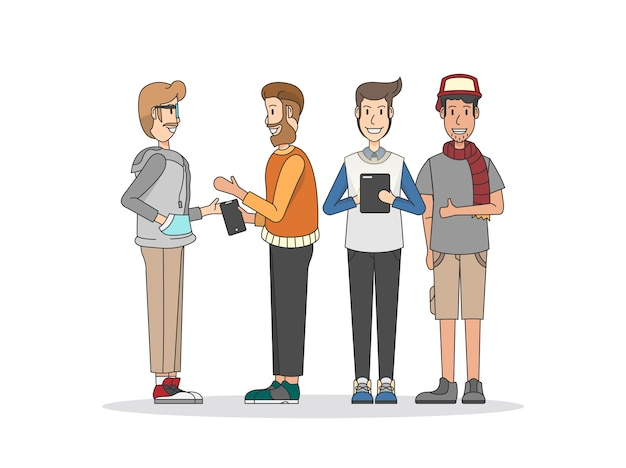 Illustration of people and social network