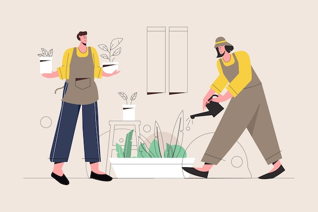 Illustration of people taking care of plants