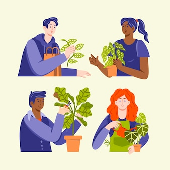 Illustration of people taking care of plants Free Vector