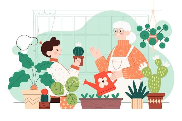 Illustrazione delle persone che si prendono cura delle piante