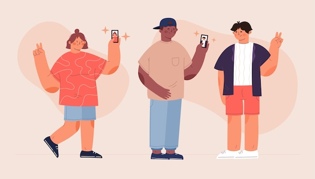 Illustration of people taking photos with smartphone
