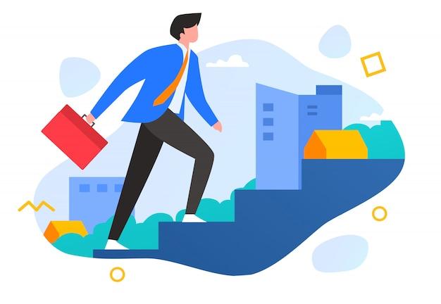 成功企業のビジネスコンセプトに階段を上るイラスト人