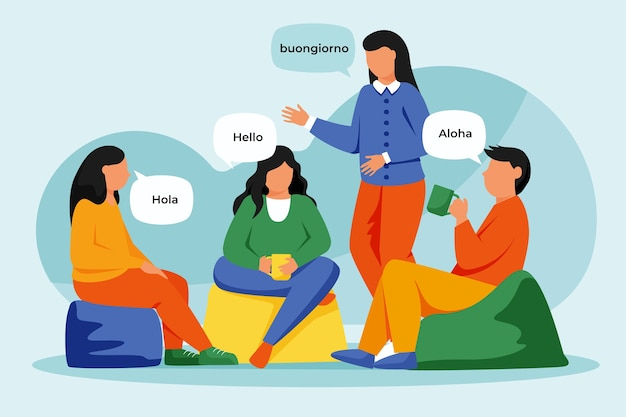 Illustration of people talking in different languages