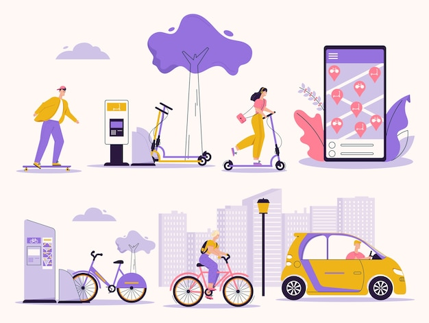 Illustration of people using rental service. skateboard, kick scooter, bicycle, electric car. search, rent vehicle mobile app. urban infrastructure, lifestyle, green eco transport