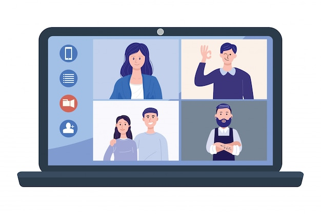 Illustration of people at video conference on laptop.