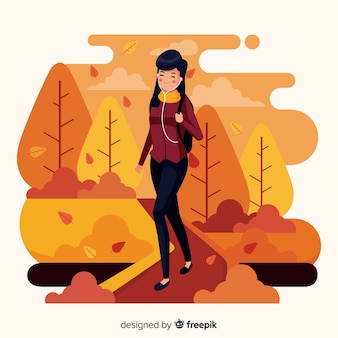 Illustration of people walking in autumn