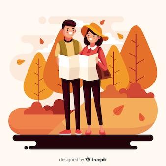 Illustration of people walking in autumn