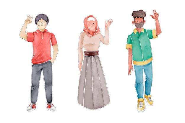 Illustration of people waving hands