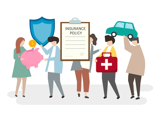 Illustration of people with an insurance policy