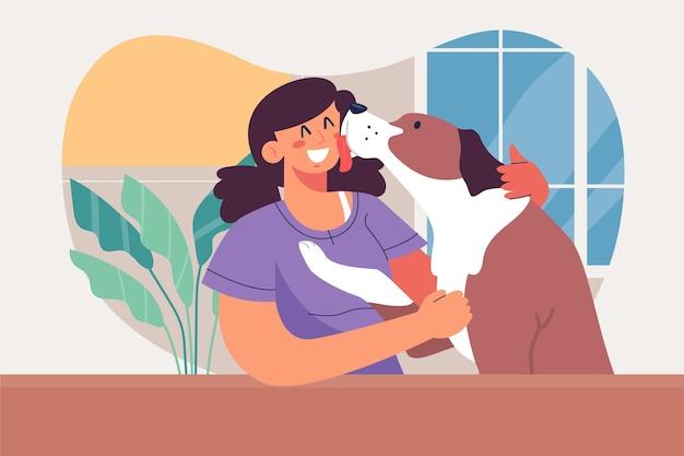 Illustrazione di persone con animali domestici