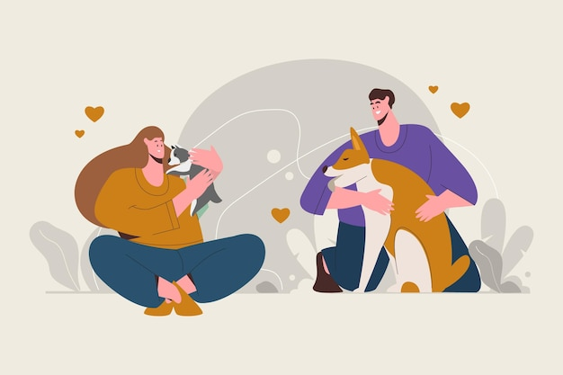 Illustration of people with pets