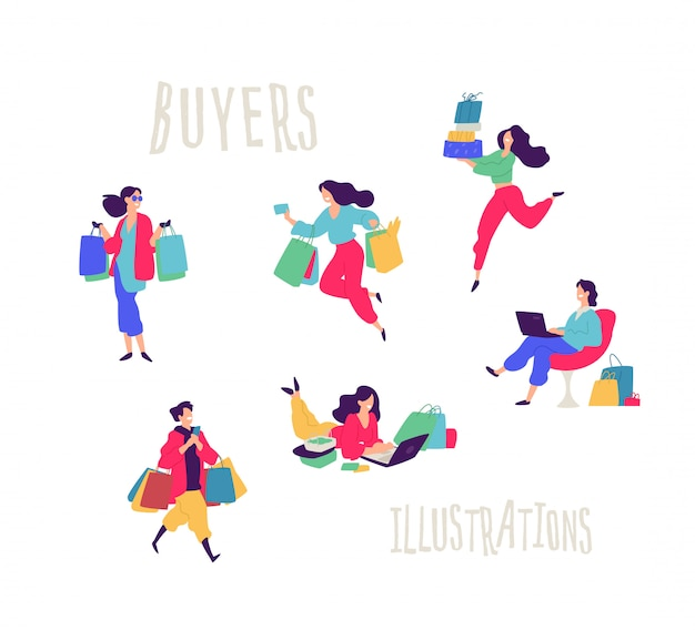 Illustration of people with purchases.