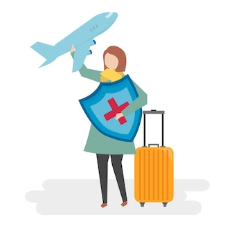 Illustration of people with travel insurance