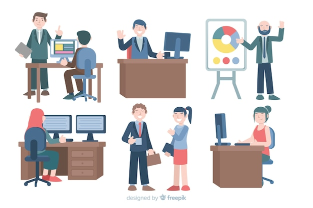Illustration of people working in office