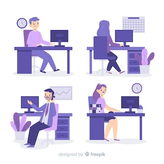 Illustration of people working at the office