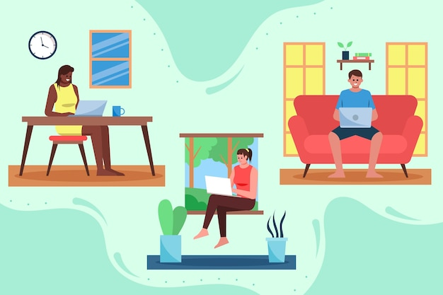Illustrazione di persone che lavorano in remoto