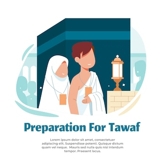 Illustration of performing tawaf during hajj