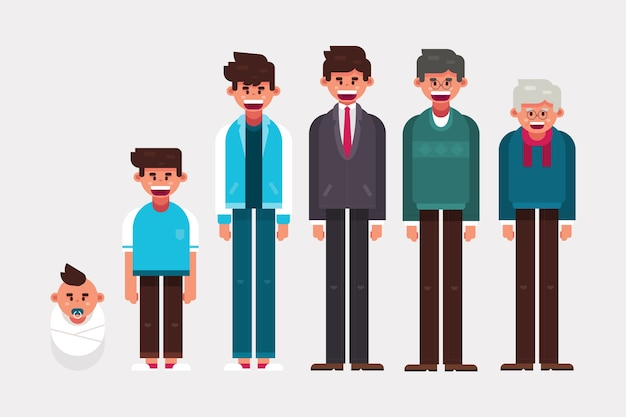 Illustration of a person in different ages