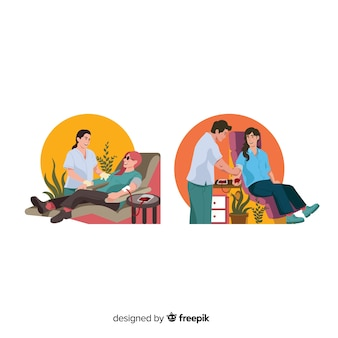 Illustration of person donating blood