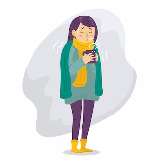 Illustration of a person with a cold