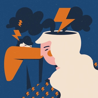 Illustration of person with mental health problems