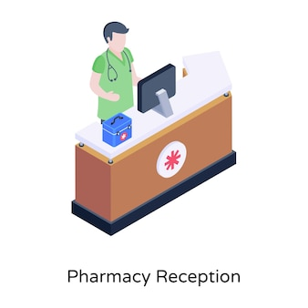 An illustration of pharmacy reception in isometric design