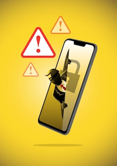 An illustration of phishing stealing digital data from the mobile phone