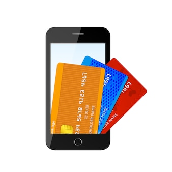 Illustration of phone with credit cards inside.