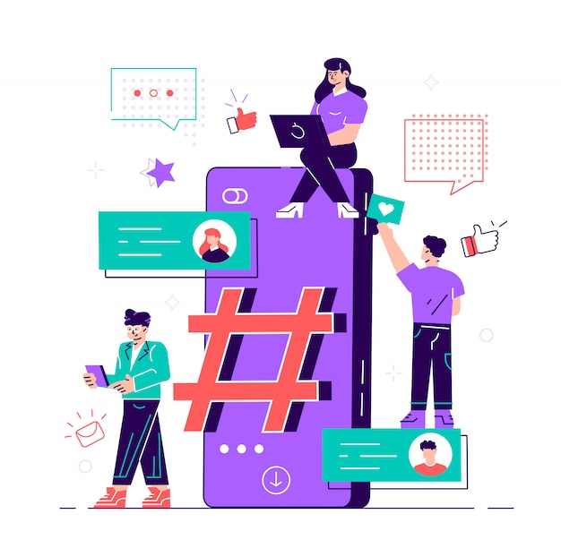 Illustration, phone with hashtag sign, people and social networks. flat style modern design  illustration for web page, cards, poster, social media, template, application, app, icons