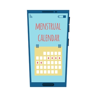 Illustration of a phone with a menstrual calendar menstrual calendar concept on the phone