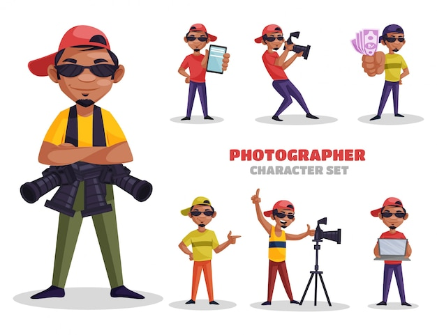Illustration of photographer character set