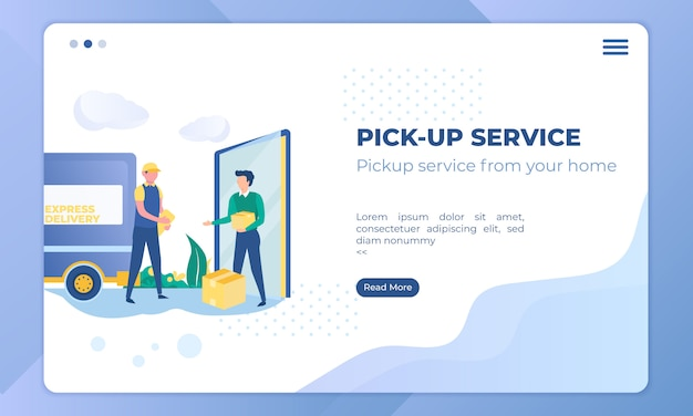Illustration of picking up a package by courier delivery services