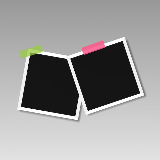 Illustration of picture frame templates on transparent background for photos